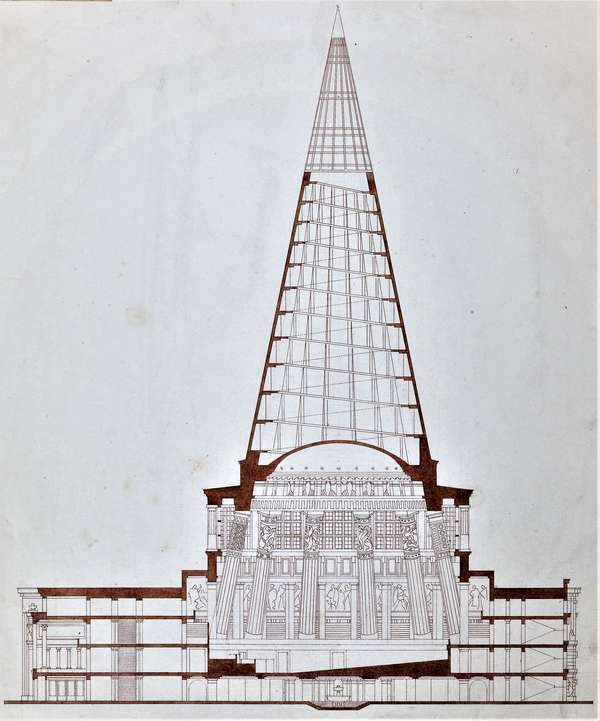 Fig. 1: Plečnik's original plan for the Slovenian Parliament building from 1947. © Archive of Plečnik House, MGML, Ljubljana